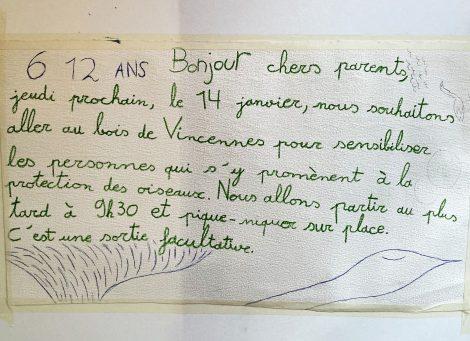 Action de sensibilisation au Bois de Vincennes